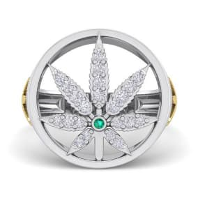 Mens 1/3 Carat Diamond and Emerald Weed Leaf Ring In 14K White Gold