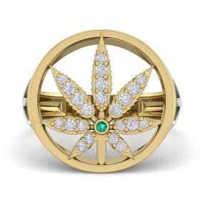 Mens 1/3 Carat Diamond and Emerald Weed Leaf Ring In 14K Yellow Gold