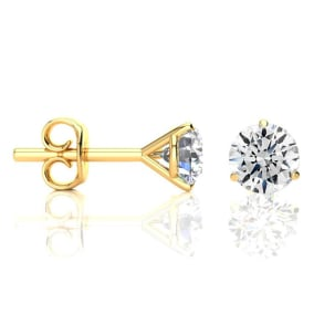 1.65 Carat Colorless Diamond Stud Earrings in 14 Karat Yellow Gold Martini Setting