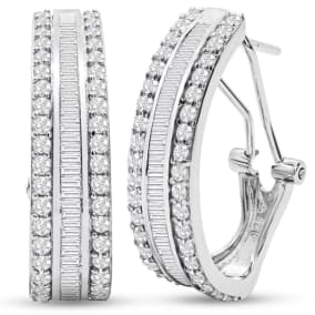 2 Carat Baguette and Round Colorless Diamond Hoop Earrings In Sterling Silver. Large, Brilliant and Gorgeous!