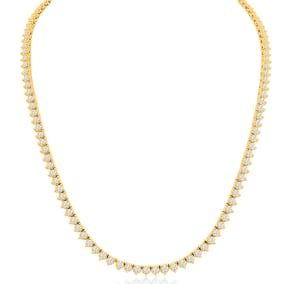 14K Yellow Gold 8.33 Carat Diamond Tennis Necklace, 17 Inches