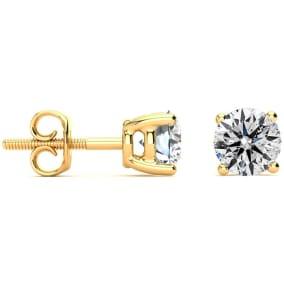 1.30 Carat Colorless Diamond Earrings In 14 Karat Yellow Gold Long Post Earrings