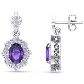 1 2/3 Carat Oval Shape Amethyst and Diamond Dangle Earrings In 14 Karat White Gold