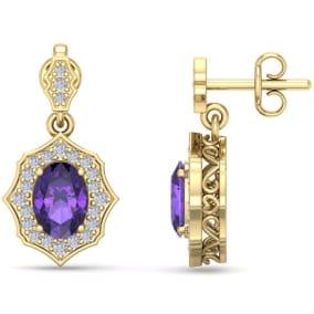 1 2/3 Carat Oval Shape Amethyst and Diamond Dangle Earrings In 14 Karat Yellow Gold