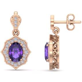 1 2/3 Carat Oval Shape Amethyst and Diamond Dangle Earrings In 14 Karat Rose Gold