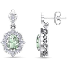 1 2/3 Carat Oval Shape Green Amethyst and Diamond Dangle Earrings In 14 Karat White Gold