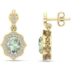 1 2/3 Carat Oval Shape Green Amethyst and Diamond Dangle Earrings In 14 Karat Yellow Gold
