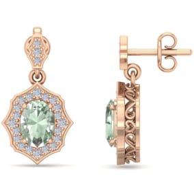1 2/3 Carat Oval Shape Green Amethyst and Diamond Dangle Earrings In 14 Karat Rose Gold