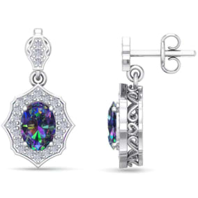 1 2/3 Carat Oval Shape Mystic Topaz and Diamond Dangle Earrings In 14 Karat White Gold