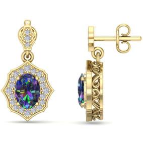 1 2/3 Carat Oval Shape Mystic Topaz and Diamond Dangle Earrings In 14 Karat Yellow Gold