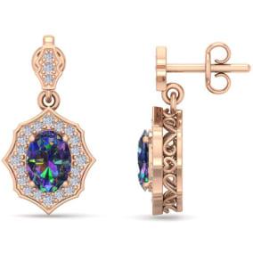 1 2/3 Carat Oval Shape Mystic Topaz and Diamond Dangle Earrings In 14 Karat Rose Gold