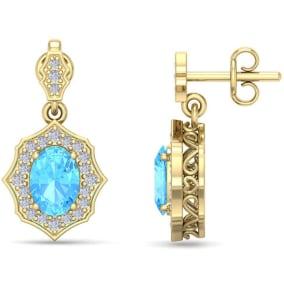 2 1/4 Carat Oval Shape Blue Topaz and Diamond Dangle Earrings In 14 Karat Yellow Gold