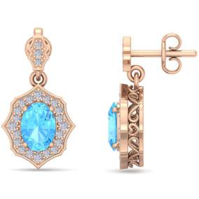 2 1/4 Carat Oval Shape Blue Topaz and Diamond Dangle Earrings In 14 Karat Rose Gold