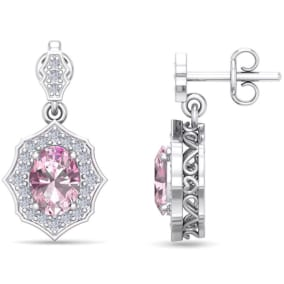 2 1/4 Carat Oval Shape Pink Topaz and Diamond Dangle Earrings In 14 Karat White Gold