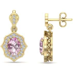 2 1/4 Carat Oval Shape Pink Topaz and Diamond Dangle Earrings In 14 Karat Yellow Gold