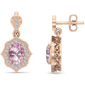 2 1/4 Carat Oval Shape Pink Topaz and Diamond Dangle Earrings In 14 Karat Rose Gold