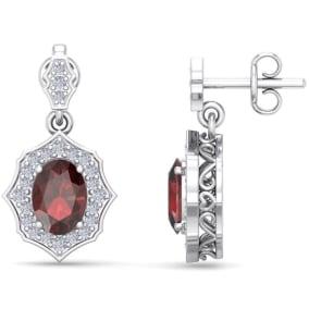 2 1/4 Carat Oval Shape Garnet and Diamond Dangle Earrings In 14 Karat White Gold