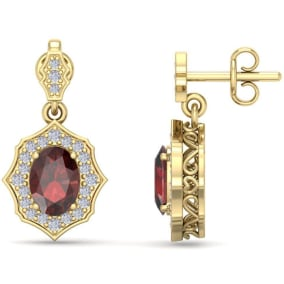 2 1/4 Carat Oval Shape Garnet and Diamond Dangle Earrings In 14 Karat Yellow Gold