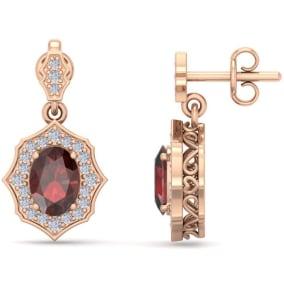 2 1/4 Carat Oval Shape Garnet and Diamond Dangle Earrings In 14 Karat Rose Gold