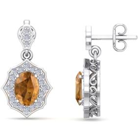 1 3/4 Carat Oval Shape Citrine and Diamond Dangle Earrings In 14 Karat White Gold