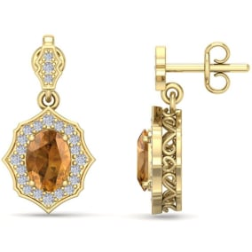 1 3/4 Carat Oval Shape Citrine and Diamond Dangle Earrings In 14 Karat Yellow Gold