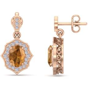 1 3/4 Carat Oval Shape Citrine and Diamond Dangle Earrings In 14 Karat Rose Gold