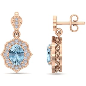 1 3/4 Carat Oval Shape Aquamarine and Diamond Dangle Earrings In 14 Karat Rose Gold