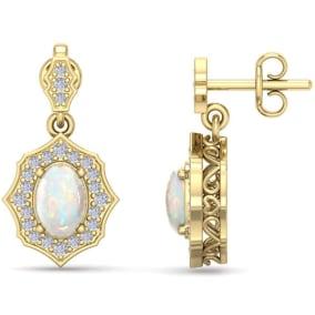 1 3/4 Carat Oval Shape Opal and Diamond Dangle Earrings In 14 Karat Yellow Gold
