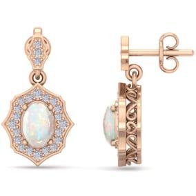 1 3/4 Carat Oval Shape Opal and Diamond Dangle Earrings In 14 Karat Rose Gold