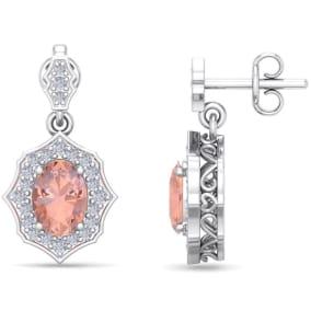 1 3/4 Carat Oval Shape Morganite and Diamond Dangle Earrings In 14 Karat White Gold