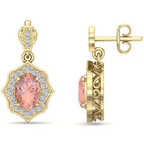 1 3/4 Carat Oval Shape Morganite and Diamond Dangle Earrings In 14 Karat Yellow Gold