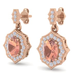 1 3/4 Carat Oval Shape Morganite and Diamond Dangle Earrings In 14 Karat Rose Gold