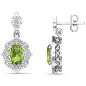 2 Carat Oval Shape Peridot and Diamond Dangle Earrings In 14 Karat White Gold