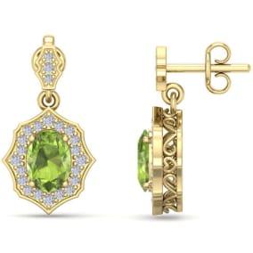 2 Carat Oval Shape Peridot and Diamond Dangle Earrings In 14 Karat Yellow Gold
