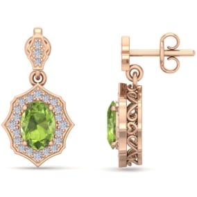 2 Carat Oval Shape Peridot and Diamond Dangle Earrings In 14 Karat Rose Gold