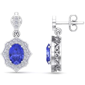 2 1/5 Carat Oval Shape Tanzanite and Diamond Dangle Earrings In 14 Karat White Gold