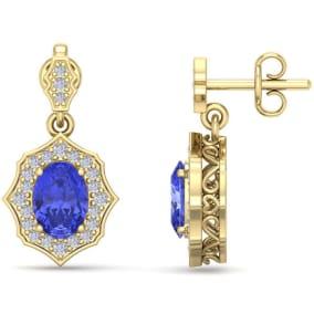 2 1/5 Carat Oval Shape Tanzanite and Diamond Dangle Earrings In 14 Karat Yellow Gold