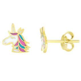 14 Karat Yellow Gold Kids Unicorn Stud Earrings