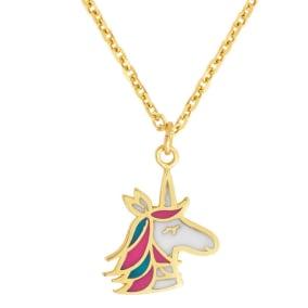 14 Karat Yellow Gold Kids Unicorn Necklace, 14 Inches
