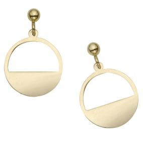 14 Karat Yellow Gold Half Moon Dangle Earrings, 3/4 Inch