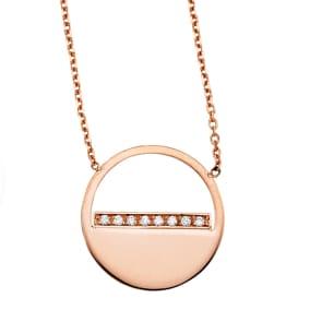 14 Karat Rose Gold Diamond Half Moon Necklace, 16 Inches