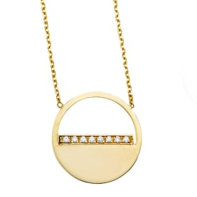 14 Karat Yellow Gold Diamond Half Moon Necklace, 16 Inches