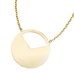 14 Karat Yellow Gold Half Moon Necklace, 16 Inches
