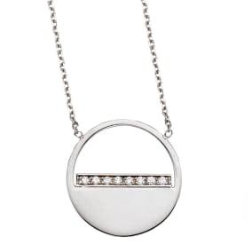 14 Karat White Gold Diamond Half Moon Necklace, 16 Inches