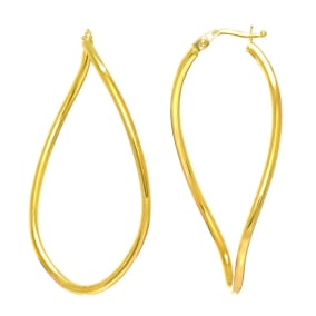 14 Karat Yellow Gold Twisted Oval Hoop Earrings, 2 Inches