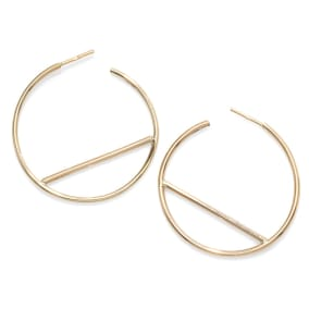 14 Karat Yellow Gold Bar Hoop Earrings, 1 3/4 Inch