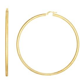 14 Karat Yellow Gold Large Hoop Earrings, 3 Inches