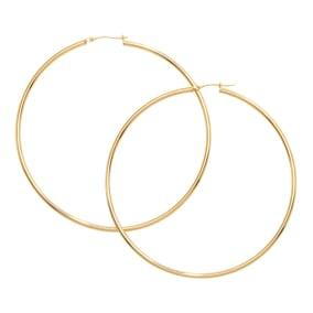 14 Karat Yellow Gold Large Hoop Earrings, 2 3/4 Inches