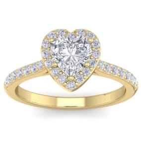 1 1/3 Carat Heart Shape Halo Diamond Engagement Ring In 14 Karat Yellow Gold