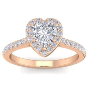 1 1/3 Carat Heart Shape Halo Diamond Engagement Ring In 14 Karat Rose Gold